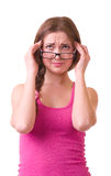 Girl with terrible headache holding head in pain Royalty Free Stock Photo