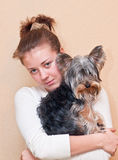 The girl with a terrier Stock Photos