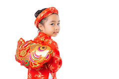 Girl with Tet decoration Royalty Free Stock Images