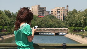 Girl texting stock footage