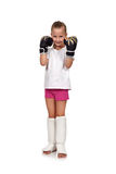 Girl with thai boxing gloves. Little girl kid fighting with thai boxing gloves Royalty Free Stock Photos