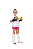 Girl with thai boxing gloves Royalty Free Stock Photo