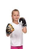 Girl with thai boxing gloves. Little girl kid fighting with thai boxing gloves Stock Image