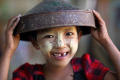 Girl with Thanaka in Myanmar Royalty Free Stock Image