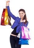 Girl with their purchases. Royalty Free Stock Images