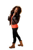 Girl in thighs and jacket. Royalty Free Stock Photos