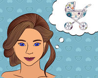 Girl think with speech bubble baby carriage Royalty Free Stock Image