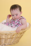 Girl thinking. In basket Stock Photos