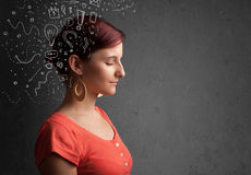 Young girl thinking with abstract icons on her head Royalty Free Stock Image