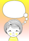 Thinking balloon and girl greeting card vector illustration