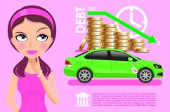 Beautiful girl thinking about buying a car infographic. Girl thinking about buying a car infographic Stock Photography