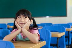 Girl are Thinking in the classroom Royalty Free Stock Image