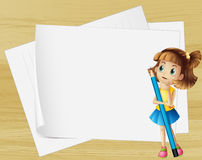 A girl thinking beside the empty papers Stock Images