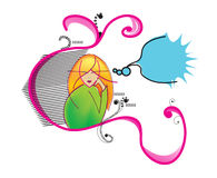 Girl thinking illustration. Illustration of a girl thinking out loud with a cartoon bubble stock illustration