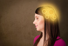 Girl thinking with a machine head illustration Stock Photography