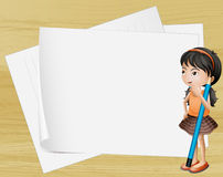 A girl thinking near the empty papers Royalty Free Stock Photo