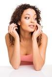 Girl thinking over white Royalty Free Stock Photos