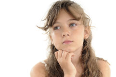 Girl thinking portrait Royalty Free Stock Images