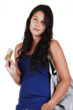 Girl thinking about spending. Royalty Free Stock Photography