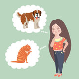 Girl thinking whom to choose. Cat or dog Stock Photography