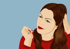 Girl thinks. Angry girl in the red sweater reflects stock illustration