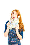 girl thinks to spend money Royalty Free Stock Photography