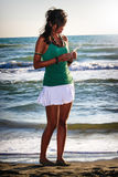 Girl thoughtfully. Peace at sea. Young woman in love. Royalty Free Stock Images
