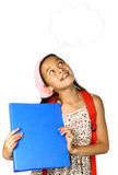 Girl with thoughts bubble royalty free stock photography