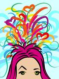 A girl with thoughts about something, chaotic colorful ideas. Illustration Royalty Free Stock Photos