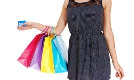 Girl with three bag's. Royalty Free Stock Image