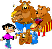 Girl and the three bears Stock Photo