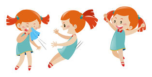 Girl in three different actions. Illustration Royalty Free Stock Images
