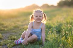 Girl is three years old royalty free stock images