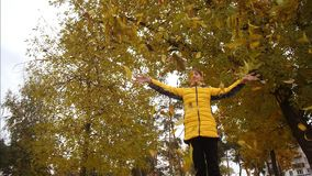 Girl throws autumn yellow leaves up and looks like they are falling. Slow motion.  stock video footage