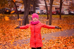 The girl throws leaves. The concept of the golden autumn Royalty Free Stock Images