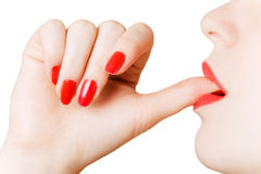 Girl with a thumb in mouth Royalty Free Stock Photo
