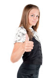 Girl With Thumb Up. Attractive caucasian girl showing thumbs up with happy smiling facial expression. Image isolated on white background Royalty Free Stock Photos