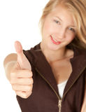 Girl with thumb up Stock Photos