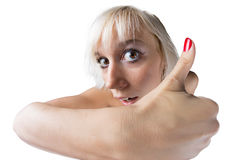 Girl with thumb up! Stock Photos