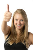 Girl with thumb up. Young blond girl in black top with thumb up Stock Photography