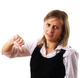 Girl with thumbs down Royalty Free Stock Photo