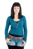 Girl with thumbs in her pockets Royalty Free Stock Photos