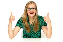 Girl with thumbs up Royalty Free Stock Photos