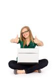 Girl with thumbs up Stock Photography