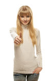 Girl with thumbs up. Charming blonde successful girl with thumbs up, isolated on white background Stock Image
