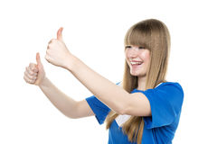 Girl thumbs up Royalty Free Stock Photos