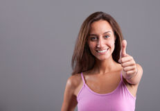 Girl thumbs up Stock Photo