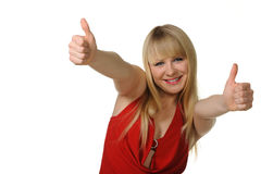The girl thumbs up. Reaction of approval. Royalty Free Stock Photos
