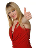 The girl thumbs up. Reaction of approval. Royalty Free Stock Photography
