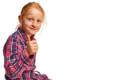 Girl thumbs up on the side Royalty Free Stock Images